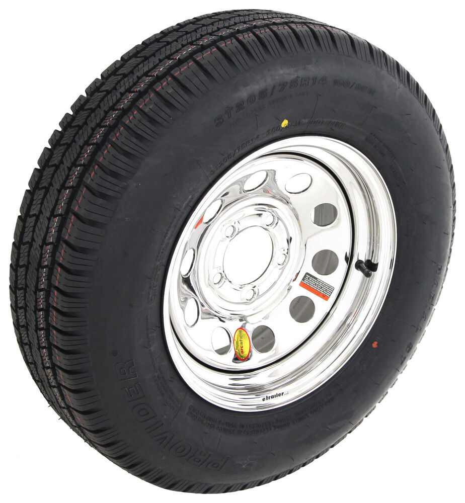 """Provider ST205/75R14 Radial Tire w/ 14"""" Steel Mod Wheel - 5 on 4-1/2 - LR C - Silver PVD Finish 5 on 4-1/2 Inch A14R45SMPVD"""