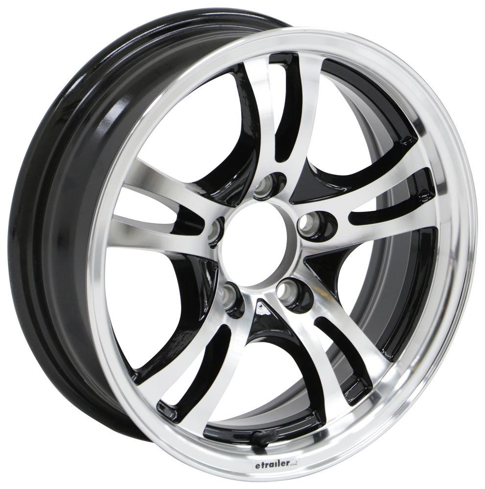 "13/""x4.5/"" White Spoke Trailer Wheel 5 hole 4.5/"" bolt circle w//stem Premium Finish"