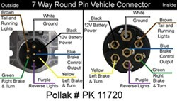 POLLAK 7-Way to 4-Way Flat Trailer Camper Wiring Connector Adapter 7 blade 4 pin