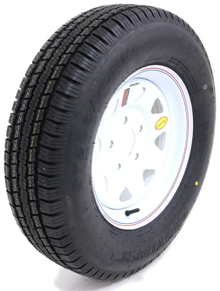 1x TRAILER TIRES ST 205//75R 15 Radial WhiteSpoke Wheels Rims 15